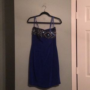 Blue Sequined Cocktail Dress